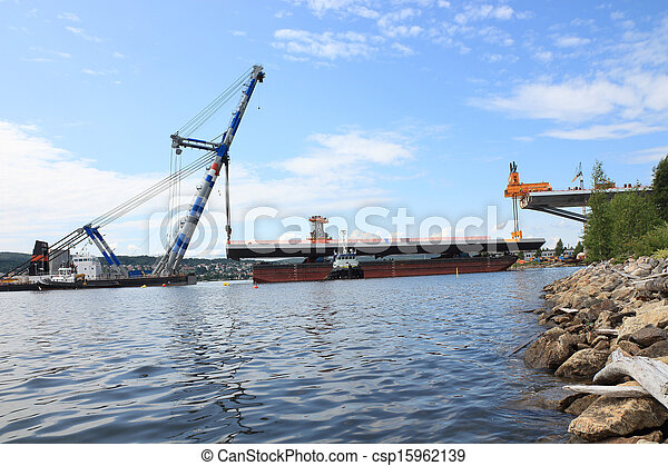 クレーン, 板, whith, リフト, 湾 橋 - csp15962139