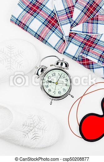クローズアップ, よい, の上, オブジェクト, 睡眠, 背景, 白, 光景 - csp50208877