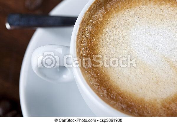 クローズアップ, カプチーノ, カップ, 泡, コーヒー, ミルク - csp3861908