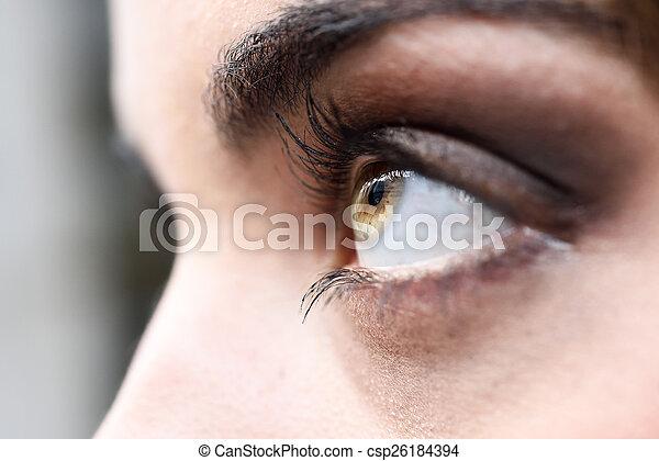 クローズアップ, 女性の目, まつげ, 長い間 - csp26184394