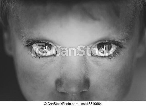 クローズアップ, 男の子, 目, わずかしか - csp16810664