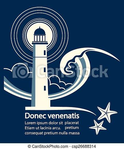グラフィック, テキスト, 灯台, ポスター - csp26688314