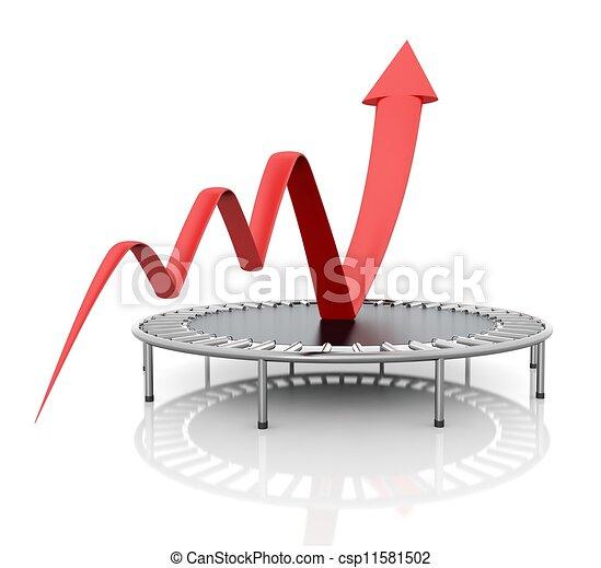 グラフィック, ビジネス, トランポリン, 成長, relaunched, 赤 - csp11581502