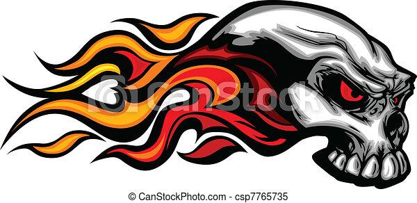 グラフィック, ベクトル, 燃えている, イメージ, 頭骨 - csp7765735