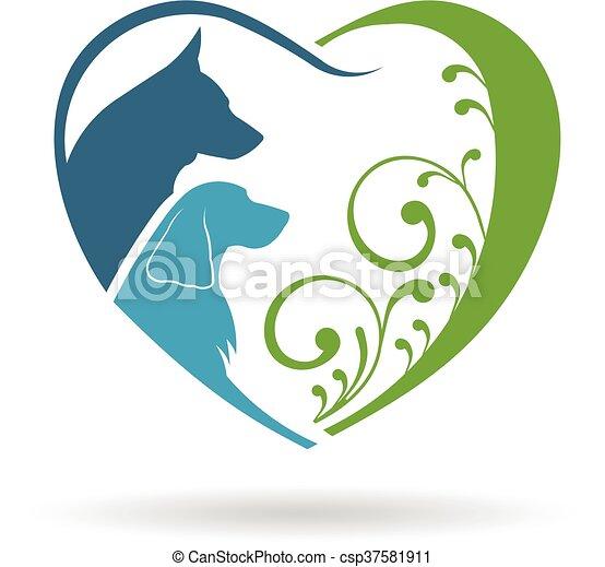 グラフィック, heart., 恋人, ベクトル, デザイン, 愛, 犬 - csp37581911
