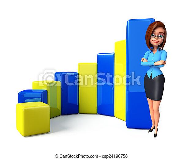 グラフ, 女の子, ビジネスオフィス, 若い - csp24190758