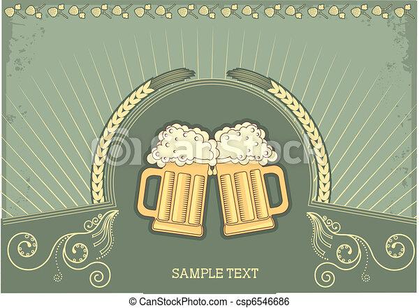 グランジ, テキスト, イラスト, ビール, ベクトル, バックグラウンド。 - csp6546686