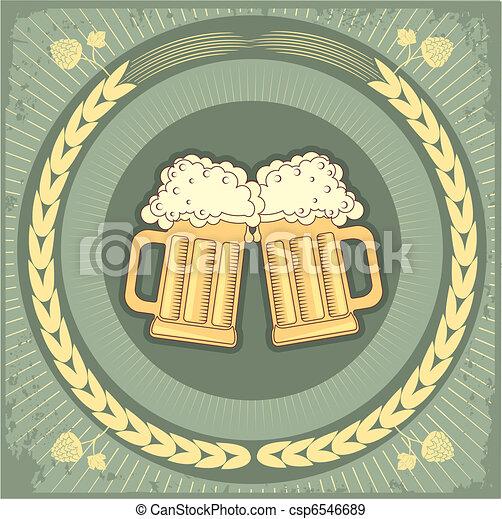 グランジ, テキスト, イラスト, ビール, ベクトル, バックグラウンド。 - csp6546689