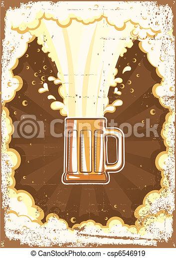 グランジ, テキスト, イラスト, ビール, ベクトル, バックグラウンド。 - csp6546919