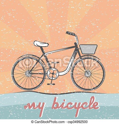 グランジ, ベクトル, 自転車, レトロ, イラスト - csp34992500