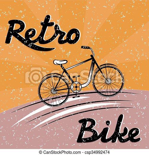 グランジ, ベクトル, 自転車, レトロ, イラスト - csp34992474