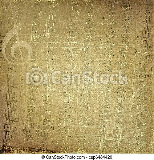 グランジ, ミュージカル, 金, 背景, デザイン, メモ - csp6484420