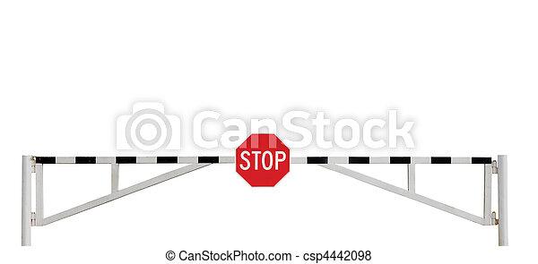 グランジ, 外気に当って変化した, 障壁, 止まれ, 隔離された, 印, 門, 年を取った, 道 - csp4442098