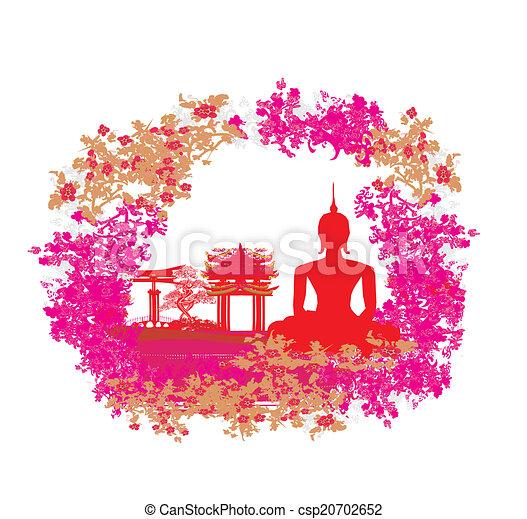 グランジ, 手ざわり, 仏, 風景, アジア人, シルエット - csp20702652