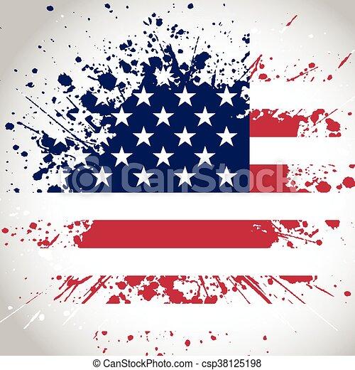 グランジ, 背景, 旗, アメリカ人 - csp38125198