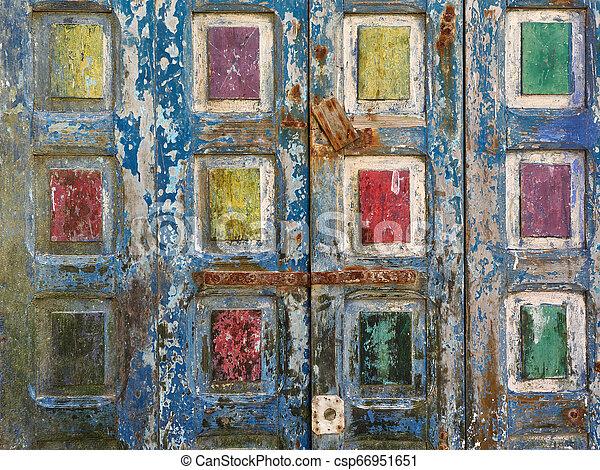 グランジ, blue., 色, 抽象的, 表面, 木製である, 黄色, 背景, 緑, 古い, 正方形, 赤 - csp66951651
