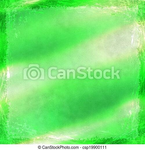 グランジ, border., 型, 抽象的, 手ざわり, バックグラウンド。, 緑, 古い, フレーム - csp19900111