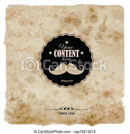グランジ, postcard., 型, paper., ラベル, 口ひげ - csp15213212