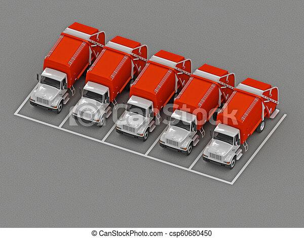 グループ, ごみ収集車, 駐車 - csp60680450