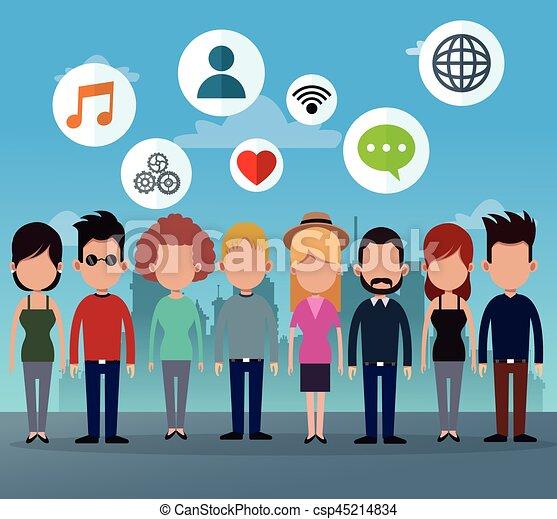 グループ, ネットワーク, 人々, 媒体, アイコン, 社会 - csp45214834