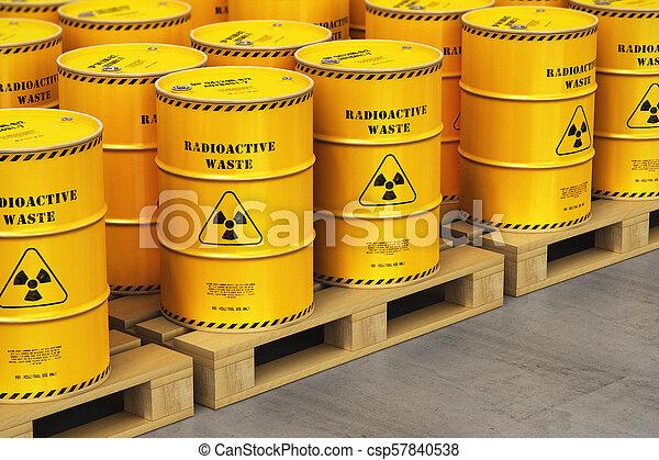 グループ, パレット, 出荷, 黄色, ドラム, 倉庫, 放射性, 無駄 - csp57840538