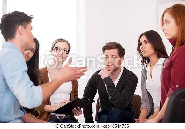 グループ, 人々のモデル, 分け前, problem., 間, 他, 何か, ほしい, それぞれ, 言うこと, 終わり, 私, ジェスチャーで表現する, 人 - csp18544755