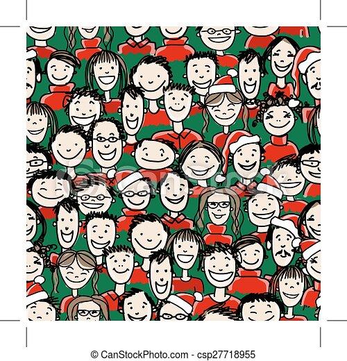 グループ, 人々, パターン, seamless, パーティー, クリスマス - csp27718955