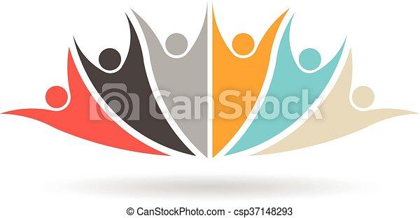 グループ, 人々, 媒体, 社会, 6, ロゴ - csp37148293