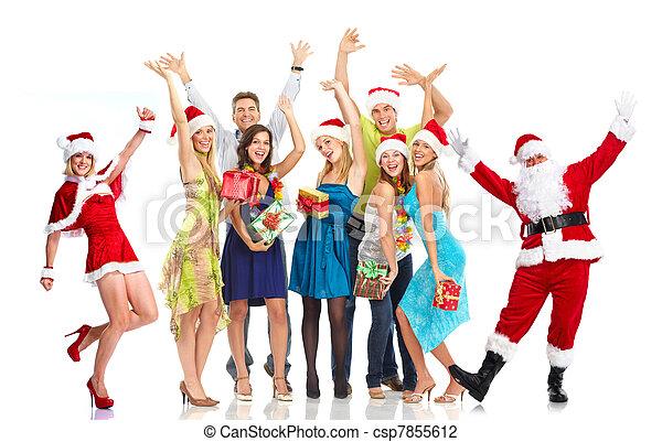グループ, 人々。, claus, santa, パーティー。, クリスマス - csp7855612