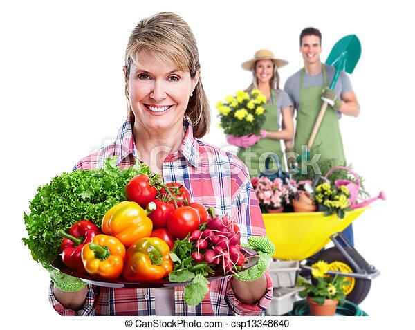 グループ, 園芸, plant., 人々 - csp13348640