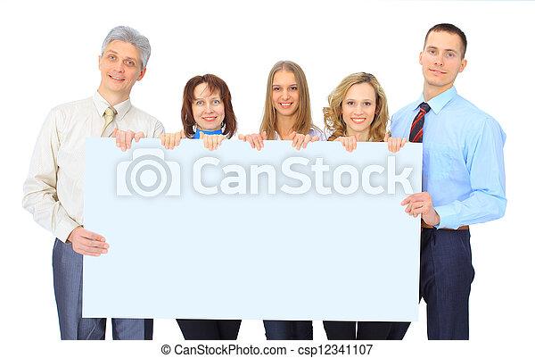 グループ, 広告, ビジネス 人々, 隔離された, 保有物, 白, 旗 - csp12341107