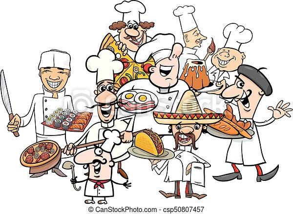 グループ, 漫画, 国際的な料理, シェフ - csp50807457