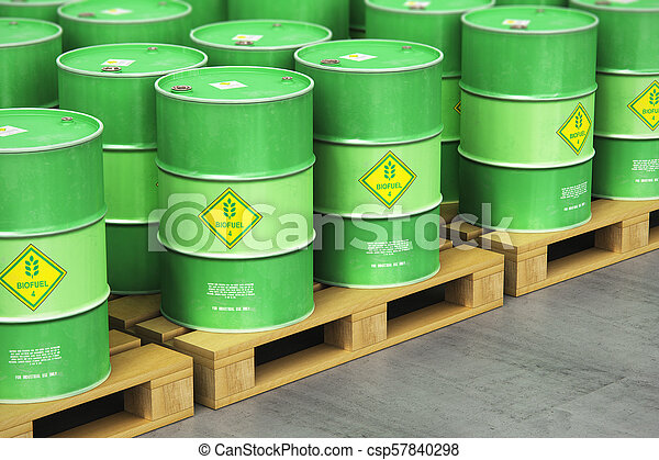 グループ, biofuel, 貯蔵, 出荷, 緑, ドラム, 倉庫, パレット - csp57840298