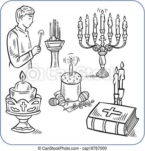 ケーキ, 聖書, -, イラスト, ベクトル, イースター - csp18767000