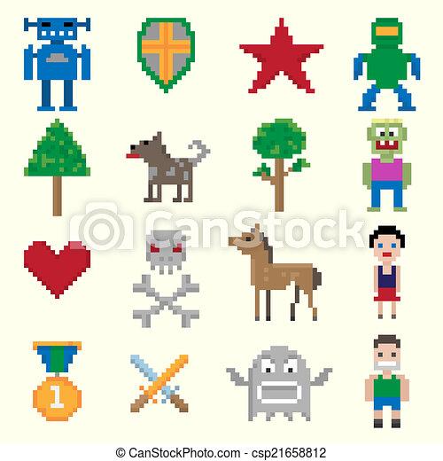 ゲーム, ピクセル, 特徴 - csp21658812