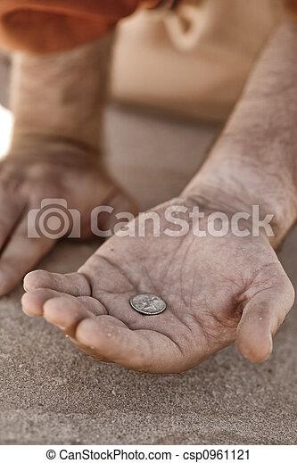 コイン, こじき, 手 - csp0961121