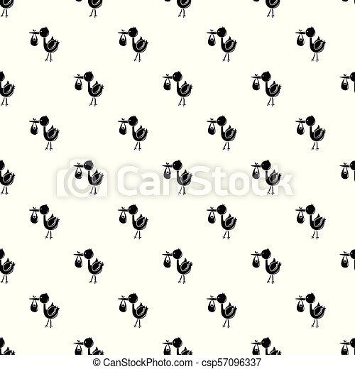 コウノトリ, パターン, ベクトル, seamless, 子供 - csp57096337