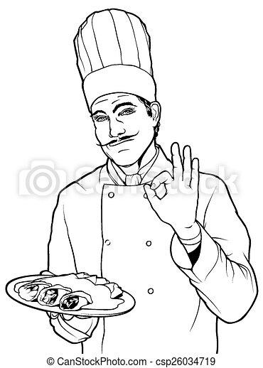 コック, 食物, ジェスチャー, おいしい - csp26034719