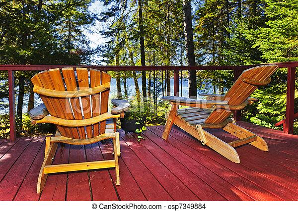 コテッジ, 椅子, 森林, デッキ - csp7349884