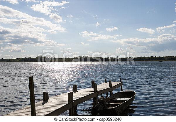 コテッジ, 湖 - csp0596240