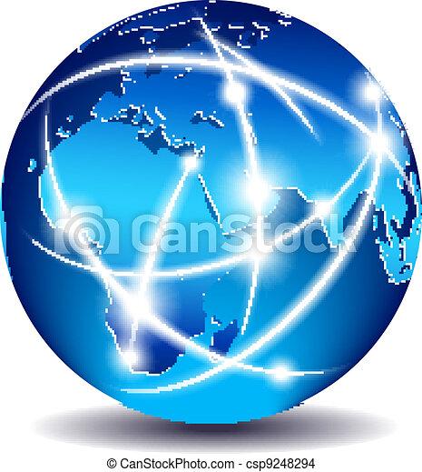 コミュニケーション, 世界的である, 世界, 商業 - csp9248294