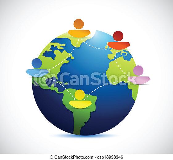 コミュニケーション, 地球, ネットワーク, 人々 - csp18938346