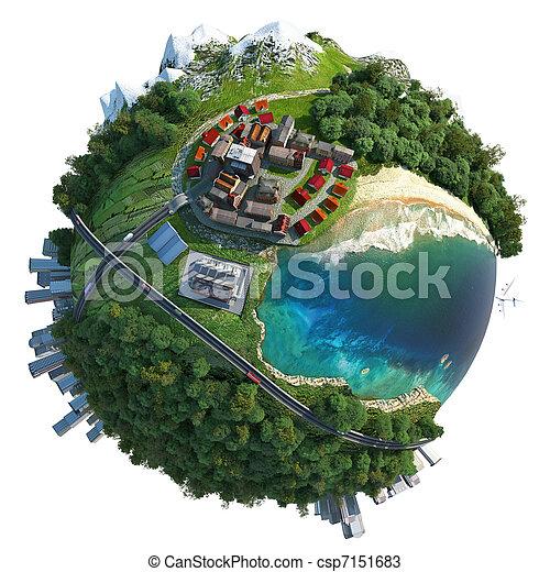 コミュニケーション, 地球, 多様性, 提示, ミニチュア - csp7151683