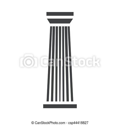 コラム, 柱, 黒, アイコン - csp44418827