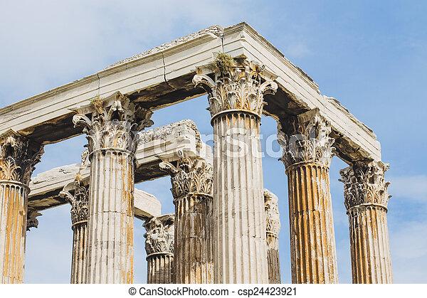 コラム, antient, 寺院, ギリシャ語 - csp24423921