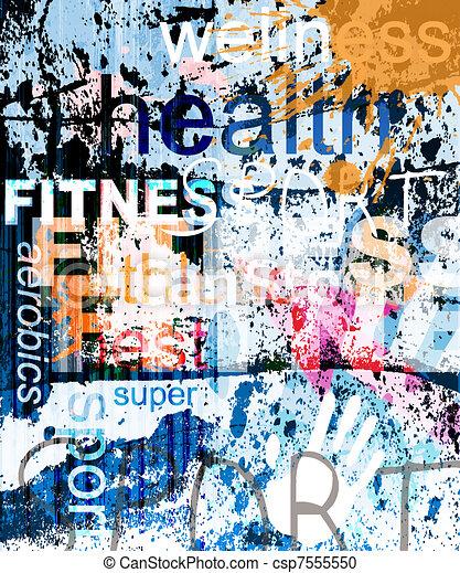 コラージュ, バックグラウンド。, 単語, グランジ, fitness. - csp7555550