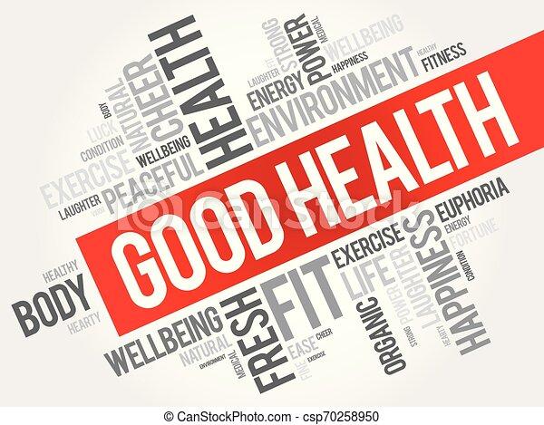 コラージュ, 健康, よい, 単語, 雲 - csp70258950