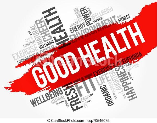 コラージュ, 健康, よい, 単語, 雲 - csp70546075