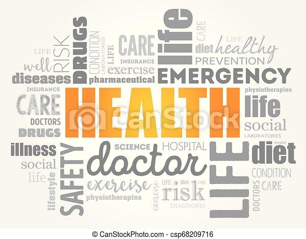 コラージュ, 健康, 単語, 雲 - csp68209716