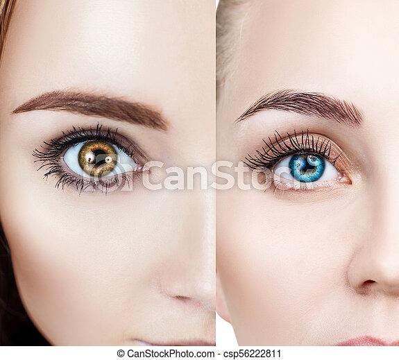 コラージュ, 別, 目, 女性, color. - csp56222811